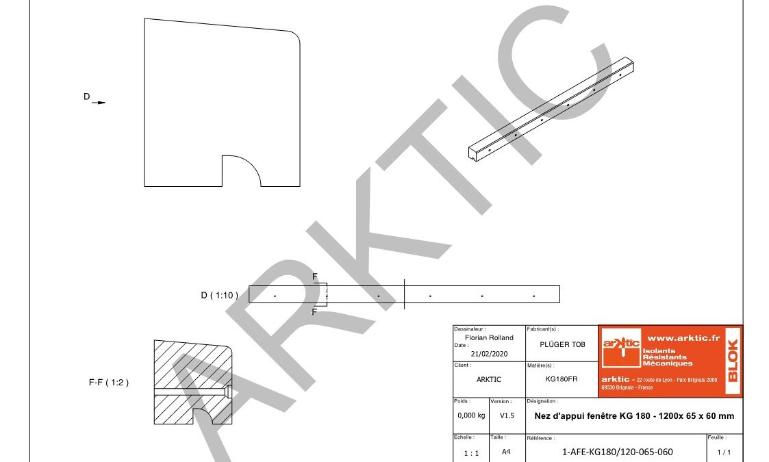 Nez d'appui fenêtre Kerdyn Green 180 - 1200 x 65 x 60 mm_1
